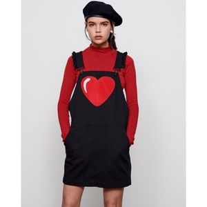 Lazy Oaf heart ruffle black denim overall dress